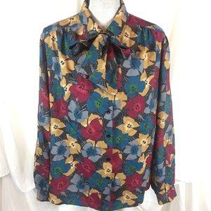 Vintage 80s Pykettes Floral Tie Neck Blouse